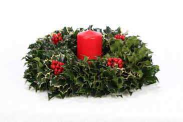 Candle Centerpiece with Variegated Holly