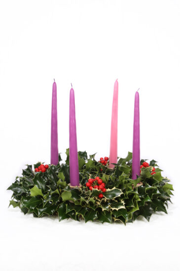 Holly Advent Wreath with English and Variegated Holly