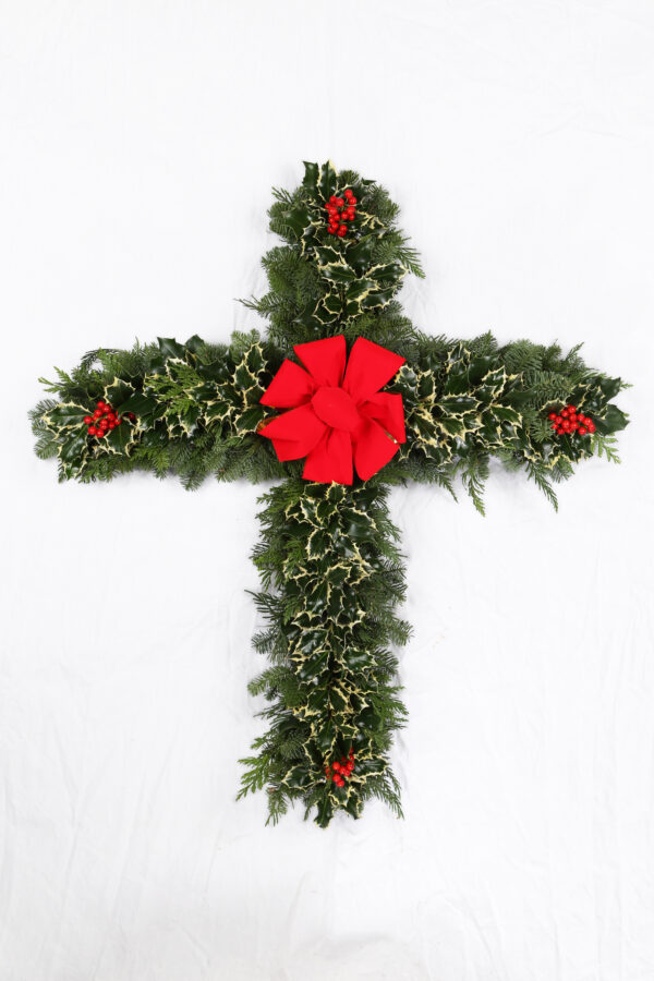 Memorial Cross with Variegated Holly
